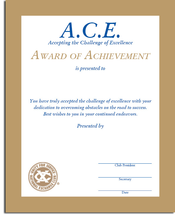 Accepting the Challenge of Excellence (A.C.E.) Certificate ...